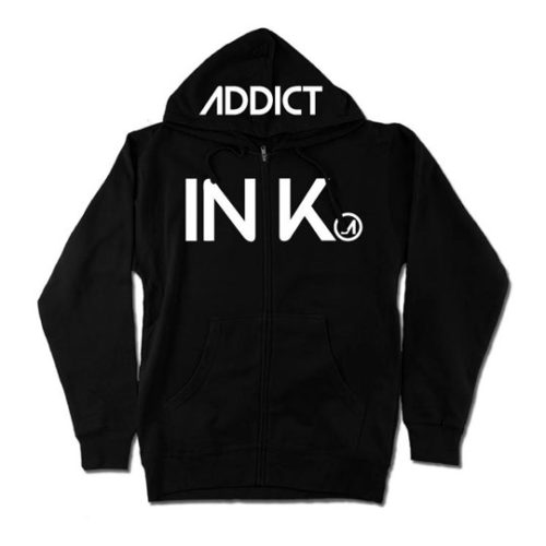 INK MEN'S BLACK MIDWEIGHT ZIP HOODIE
