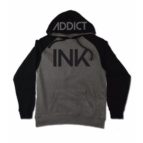 INK GUNMETAL HEATHER / BLACK MEN'S RAGLAN PULLOVER