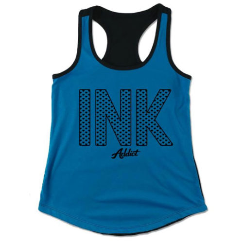 INK HEARTS WOMEN'S COLORBLOCK TURQUOISE/BLACK RACERBACK TANK